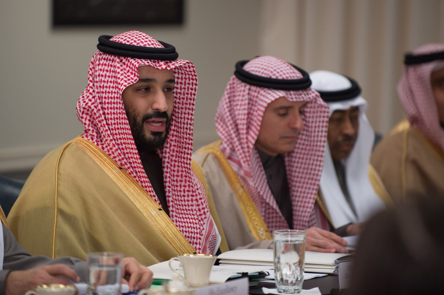 Crown Price of Saudi Arabia Mohammad bin Salman Al Saud speaks to Defense Secretary Jim Mattis during bi-lateral meeting at the Pentagon in Washington, D.C