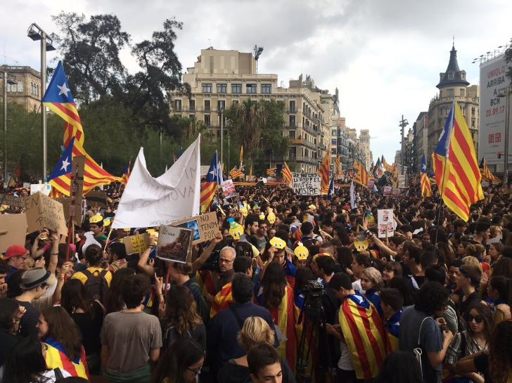 Piolín ha aparecido en la manifestación de estudiantes de Barcelona