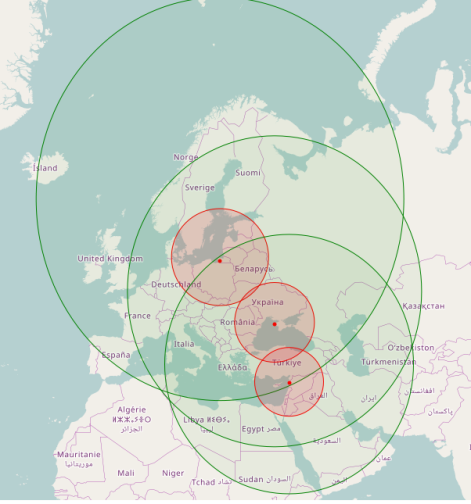 Range of Iskander ballistic and cruise missiles when deployed to Kaliningrad oblast, annexed Crimea and the Khmeimim airbase (Basel al-Assad international airport).