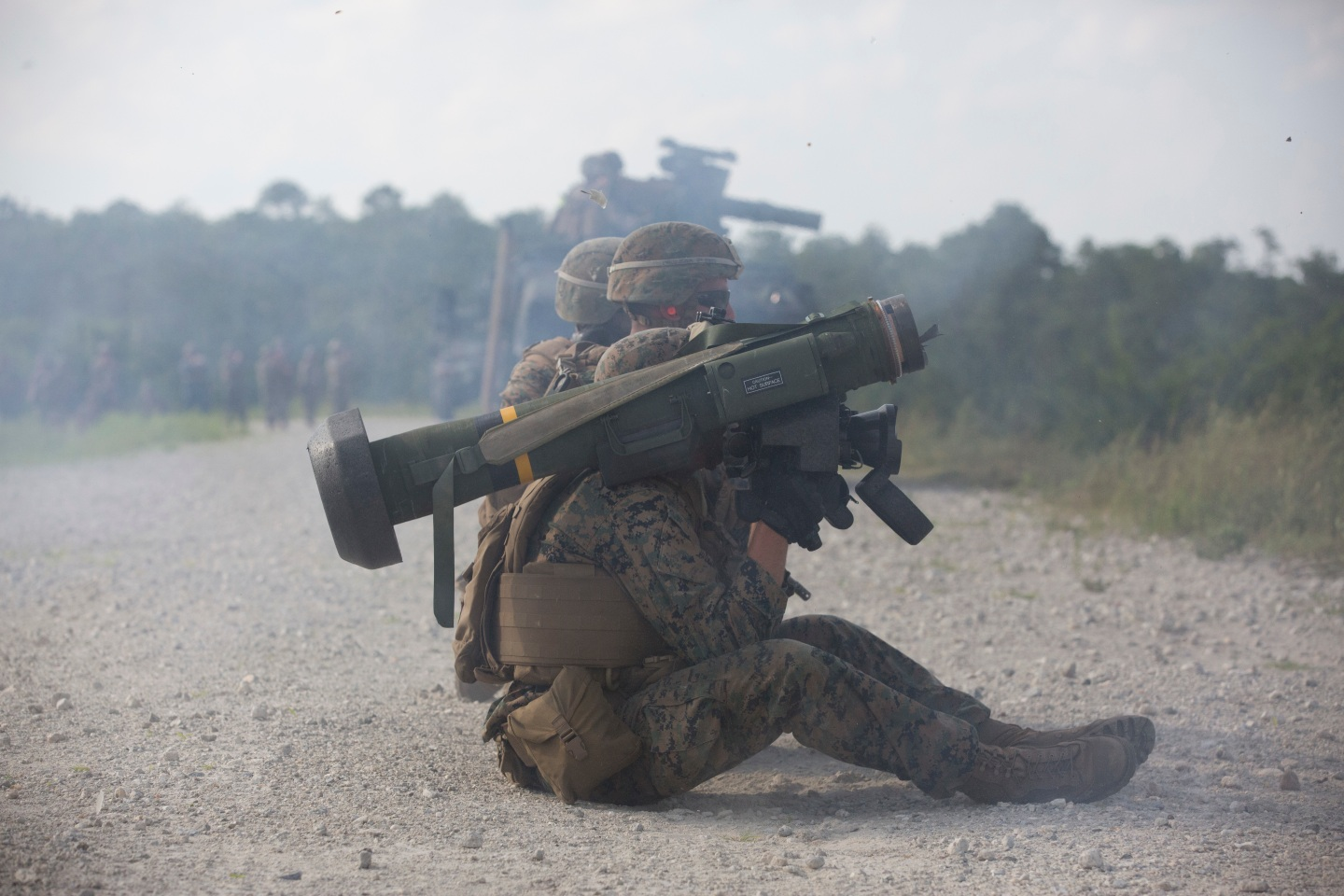 U.S. Marines from Combined Anti-Armor Team Platoon, Weapons Company, 1st Battalion, 2nd Marine Regiment (1/2), 2nd Marine Division, fire a FMG 148 Javelin shoulder fire anti-tank missile during a live fire range at Range G3 on Camp Lejeune, N.C., July 6, 2016. The purpose of the exercise was to maintain military occupation specialty proficiency and to prepare for a Deployment For Training exercise. (U.S. Marine Corps photo by Lance Cpl. Sarah N. Petrock, 2d MARDIV Combat Camera/Released) Unit: 2D Marine Division Combat Camera