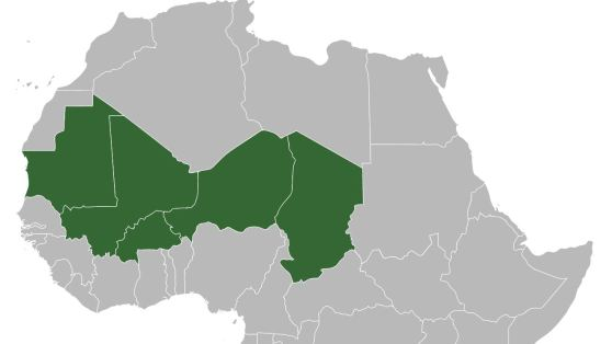 Map of the nations of the G5 du Sahel