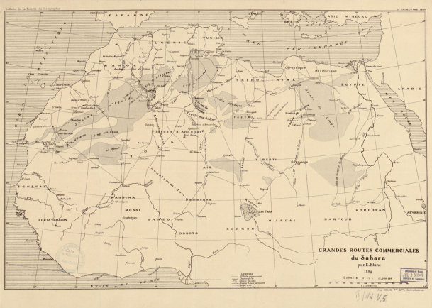 "This 1889 map of trans-Saharan trading routes by French explorer Edouard Blanc reflects the growing priority that Europeans gave to land-based trade during the late 19th-century imperial ""scramble for Africa."" In articles about his work, Blanc stressed the importance of identifying ""natural"" geographic routes that would connect French colonial possessions in west Africa, such as Senegal, to Algeria in north Africa, and link the Mediterranean coast to Sudan and central Africa. Blanc based his maps not only on his own travels but also on nearly a century of reports from European travelers dating back to the Englishman W. G. Browne's 1793 voyage to Darfur. Features identified on the map include dunes, rivers, and dry valleys as well as Arab caravan routes, colonial railways, and roads. The routes of several European explorers also are documented, including Gustav Nachtigal's 1869 expedition to Sudan, Oskar Lenz's travels from Morocco to Timbuktu in 1880, the 1880 voyage to Sudan by the Italians Matteucci and Massari, and several French expeditions from the Algerian coast, including that of Colonieu in 1860 from Oran and of Flatters from Constantine in 1880-81."