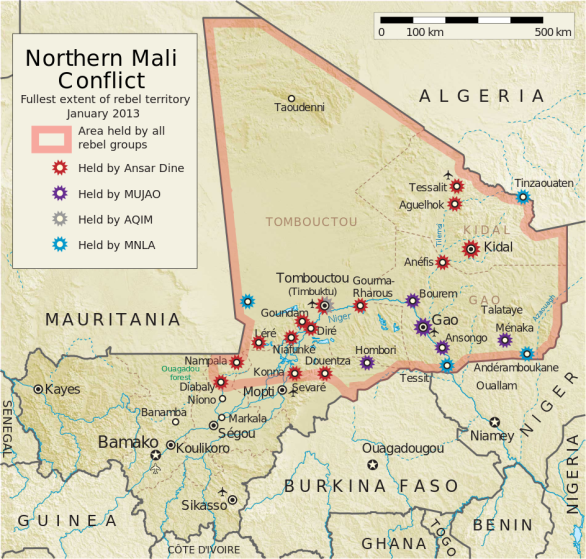 Map of the conflict in Northern Mali at its fullest extent in 2013