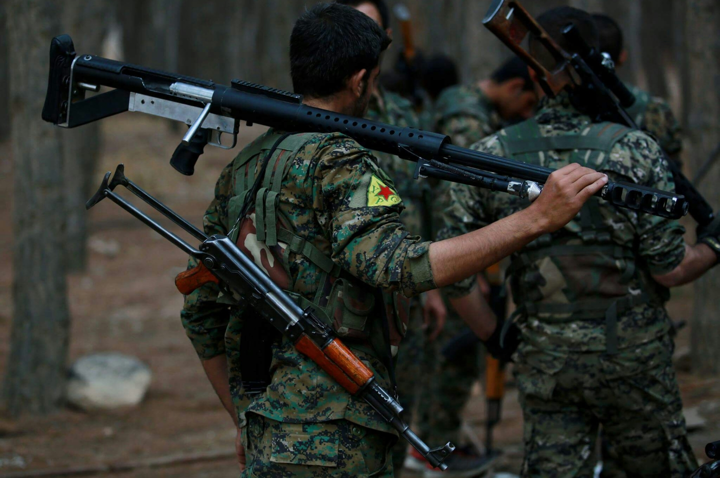 YPG fighters in the woods of Afrin Region during Operation Olive Branch.