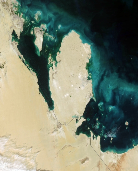 This true-color Moderate Resolution Imaging Spectroradiometer (MODIS) image from January 31, 2003, featuresthe Persian Gulf in the Middle East. Seven countries sit on the Gulf(clockwise from top right): Iran, Oman, the United Arab Emirates, SaudiArabia, Qatar, Kuwait, and Iraq. In addition to the tip of the peninsulareaching toward Iran, Oman also stretches to the southeast along the Gulfof Oman (bottom right corner).  The Persian Gulf, officially known as The Gulf, features clouds ofblue and green in its dark waters. These clouds likely indicate a mixtureof sediment and microscopic marine plant life. At the top of The Gulf,where Kuwait, Iraq, and Iran meet, two rivers flow into the Gulf and addtan streaks to the water. These rivers are the Euphrates and the Tigris,the source of the Fertile Crescent valley and between which the ancientMesopotamian civilization flourished.  A number of fires were detected in this scene by MODIS and are markedin red. They are concentrated in southern Iraq and western Iran. The onesin southern Iraq are likely associated with oil wells. Snow can also beseen blanketing the Zagros Mountains of Iran at the upper center of the image.