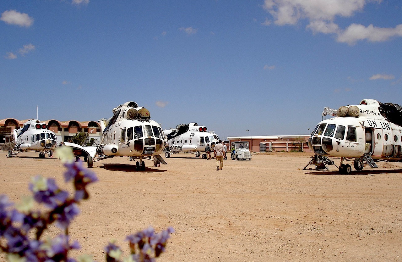 Four UTair Mil Mi-8s in Western Sahara