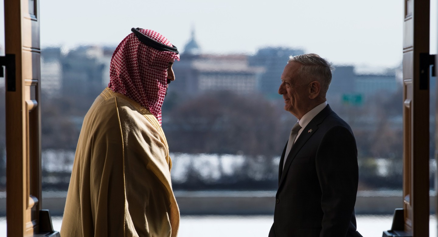 Defense Secretary James N. Mattis meets with Saudi Arabia's First Deputy Prime Minister and Minister of Defense, Crown Prince Mohammed bin Salman bin Abdulaziz at the Pentagon in Washington D.C.