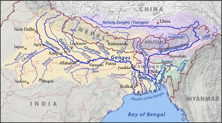 The Ganges, Brahmaputra and Meghna rivers cross borders in the Himalayas