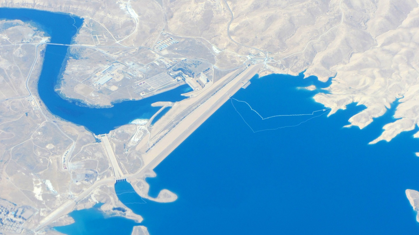 Aerial view of the Mosul Dam, Iraq.
