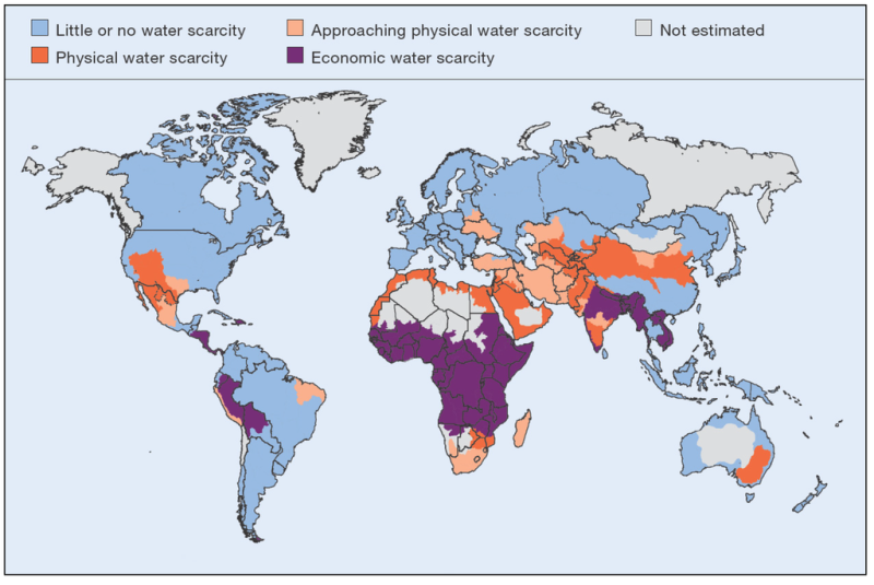 Areas of physical and economical water scarcity at the basin level in 2007