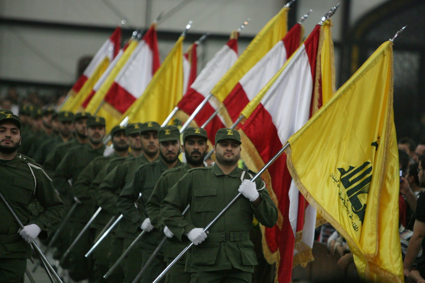 Hezbollah fighters at a ceremony.