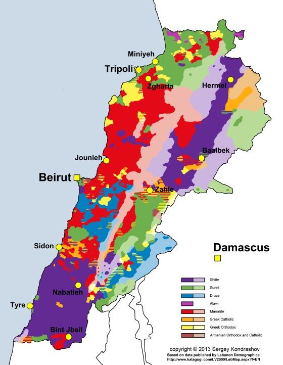 Lebanon religious groups distribution