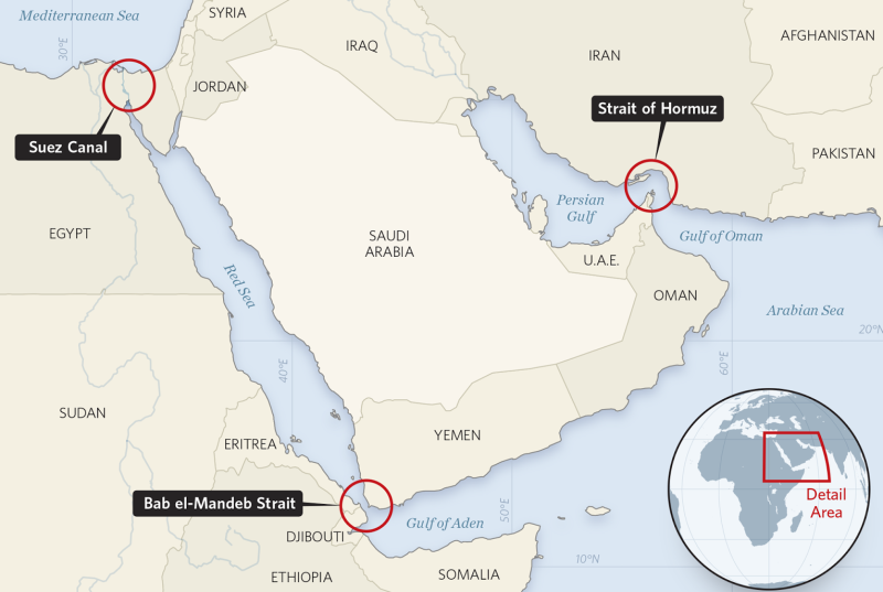 Middle East shipping choke points