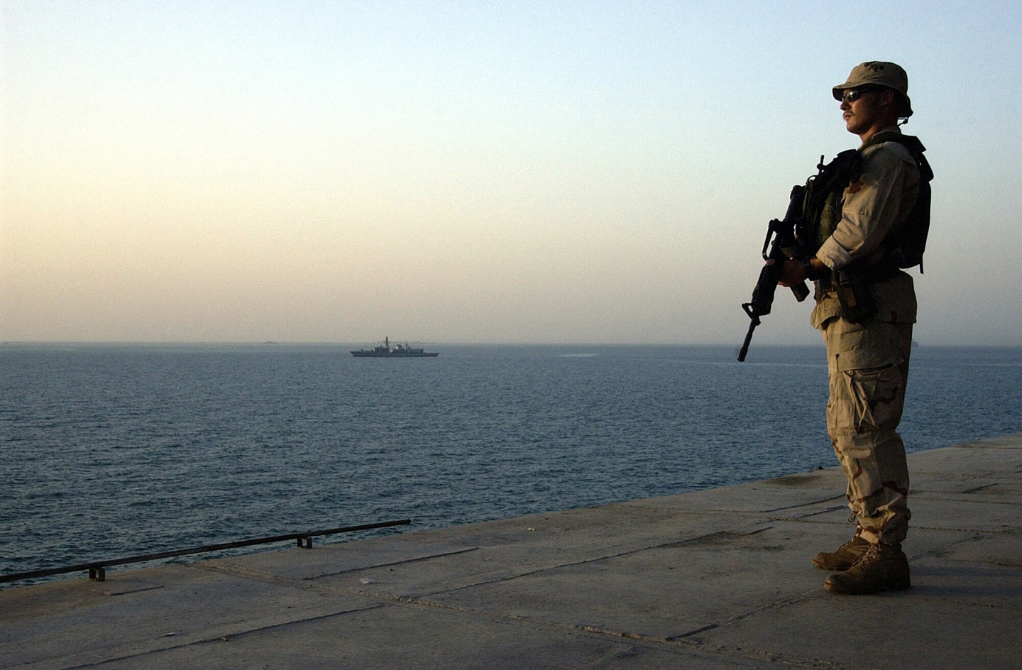 Arabian Gulf (Aug. 2, 2004) - Master-at-Arms 2nd Class Simmons, assigned to Mobile Security Detachment Two One (MSD-21), stands topside security watch aboard the Al Basrah Oil Terminal (ABOT). The ABOT and Khawr Al Amaya Oil Terminal (KAAOT) are currently under the protection of Task Force 58, coalition and Iraqi security forces. U.S. Navy photo by Photographer's Mate 2nd Class Aaron Peterson