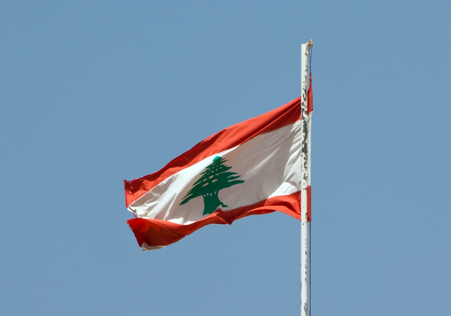 The Lebanese flag floating over the palace of Beit ed-Dine.
