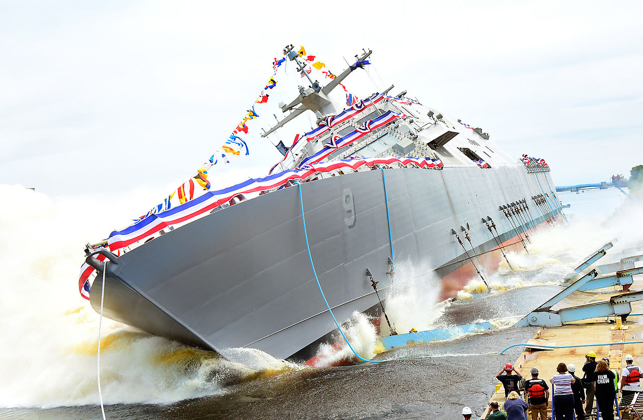 The U.S.Navy littoral combat ship USS Little Rock (LCS-9) is launched into the Menominee River in Marinette, Wisconsin (USA), on 18 July 2015 after a christening ceremony at the Marinette Marine Corporation shipyard.