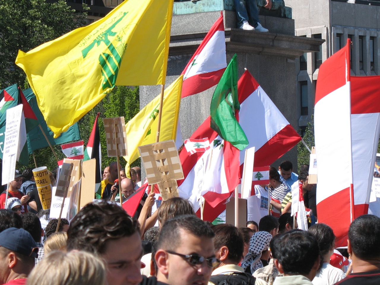 A pro palestistine, pro lebanon and not slightly pro hezbollah rally we stumbled on to at kungsträdgården. About 1500-2000 people where there according to the news. After this they marched on the US embassy.