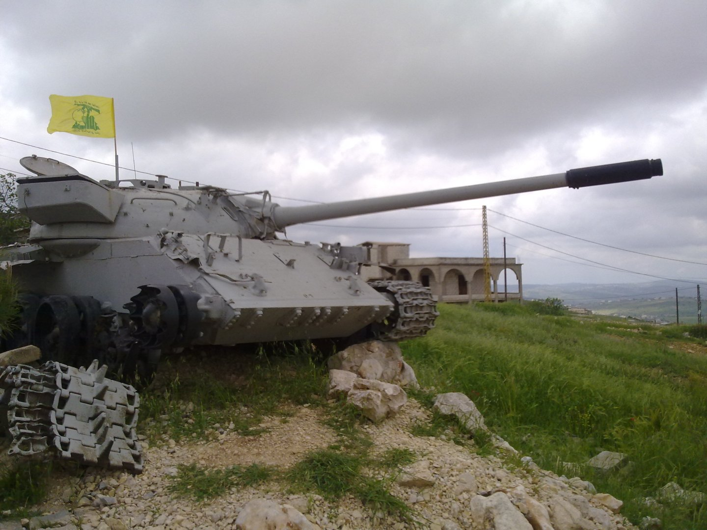 Hezbollah flag mounted on a tank