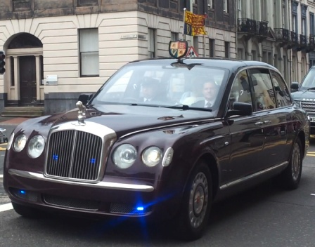 Bentley Limousine of Queen Elizabeth II in Perth, Scotland on Queens visit 2012.