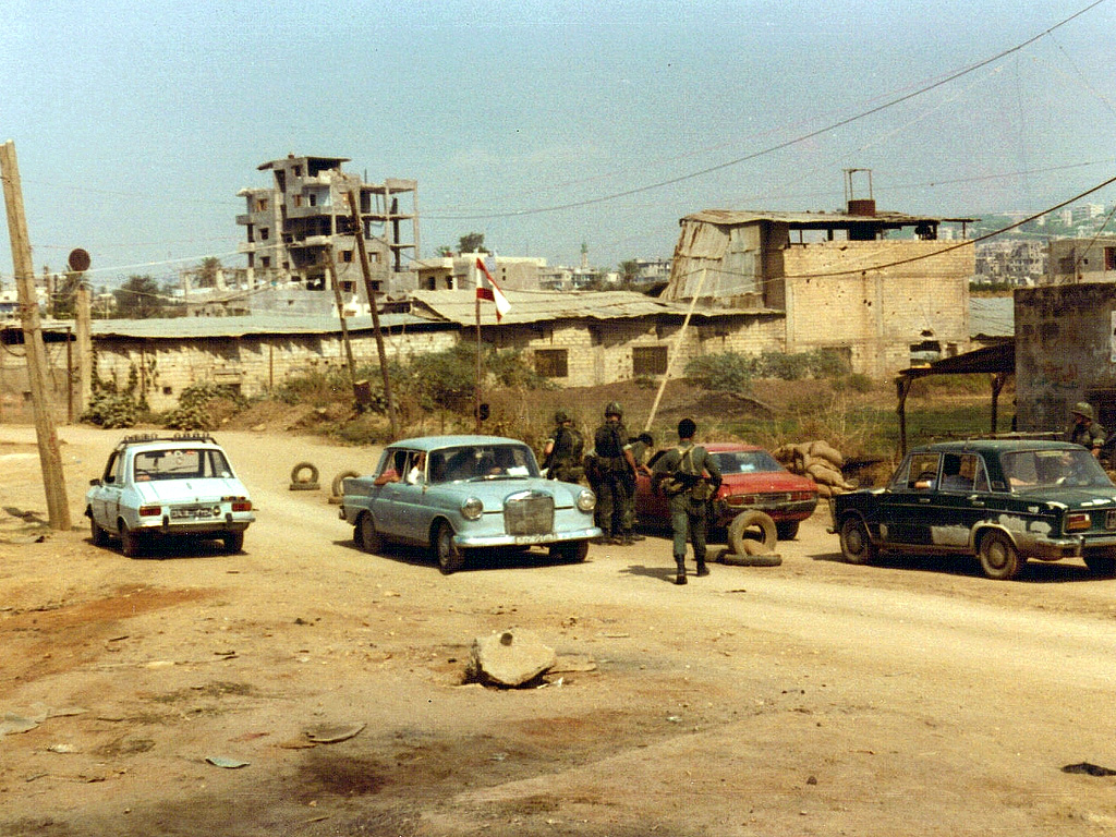 Checkpoint 4, Beirut 1982. Manned by U.S. Marines and Lebanese Army soldiers.
