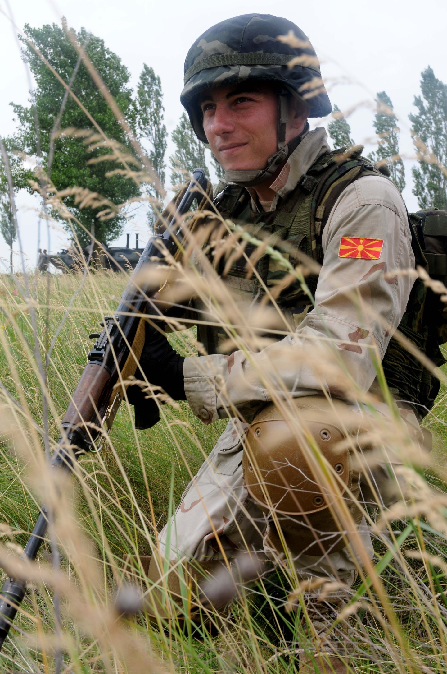 110611-N-FV216-174: SHIROKILAN, Ukraine (June 11, 2011) - A Macedonian marine provides extra countermeasure support during a joint land component demonstration as part of exercise Sea Breeze 2011. Air, land and naval forces from Azerbaijan, Algeria, Belgium, Denmark, Georgia, Germany, Macedonia, Moldova, Sweden, Turkey, Ukraine, the United Kingdom and the United States are participating in Sea Breeze, the largest multinational maritime exercise this year in the Black Sea, June 6-18, and is co-hosted by the Ukrainian and U.S. Navies. (U.S. Navy photo by Mass Communication Specialist 3rd Class Caitlin Conroy/RELEASED)