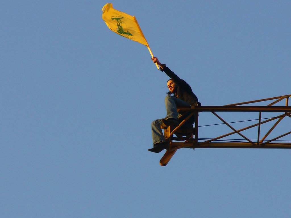 The flag of the hizbollah (the party of God) waving after the war on Israel in June 2006