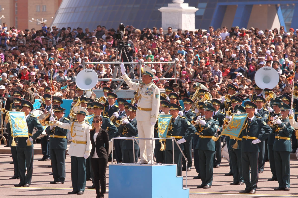 The massed bands of the Kazakh Army during a parade