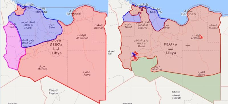 Libyan territorial dispositions May 2017 vs April 2019