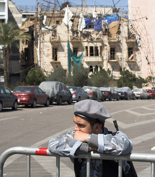 This Ministry of the Interior soldier was guarding the site of the attack that killed former Prime Minister Hariri and started turmoil in Lebanon.