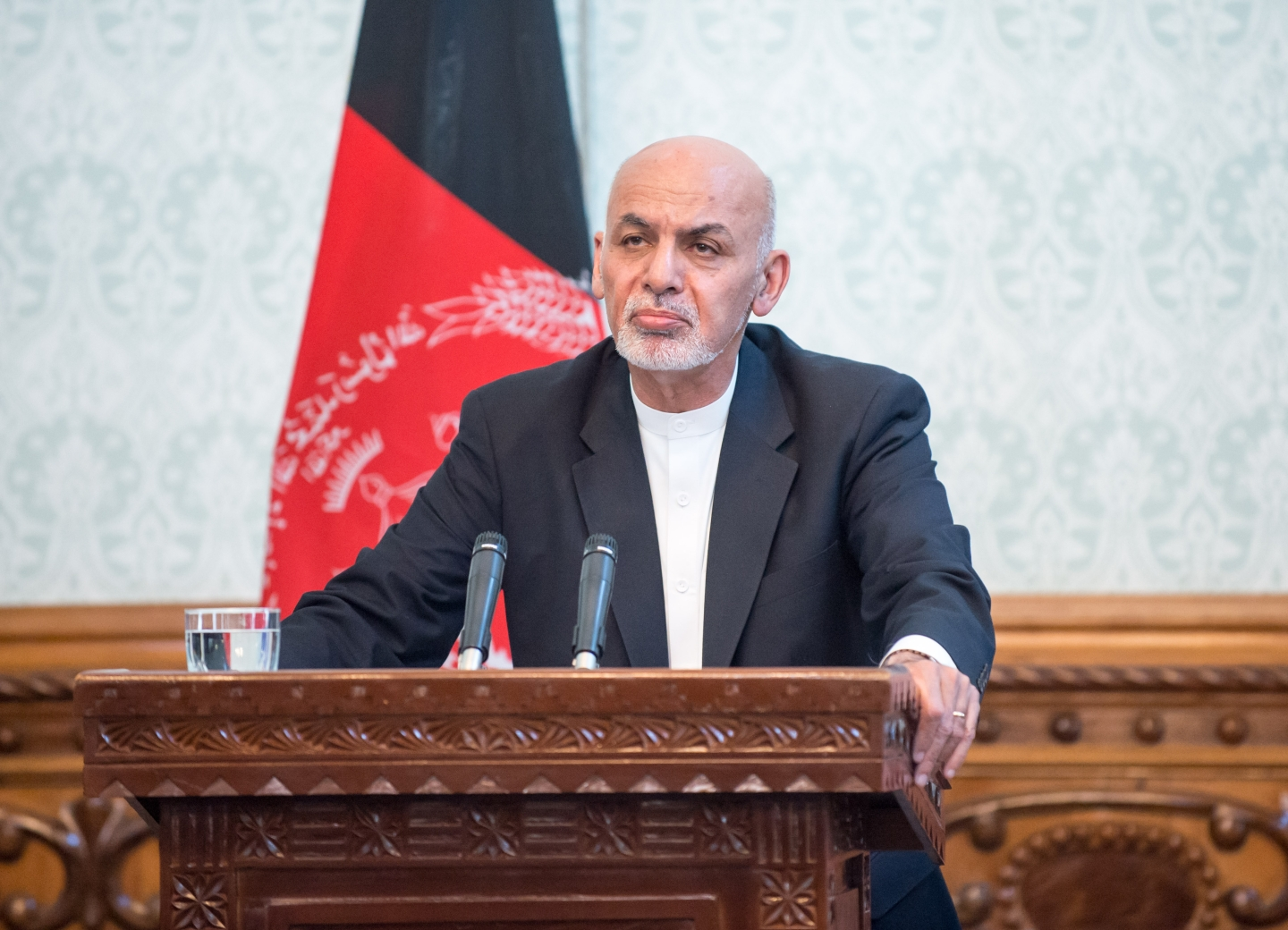 President Ashraf Ghani addresses the press at the Presidential Palace in Afghanistan on Sept. 27, 2017