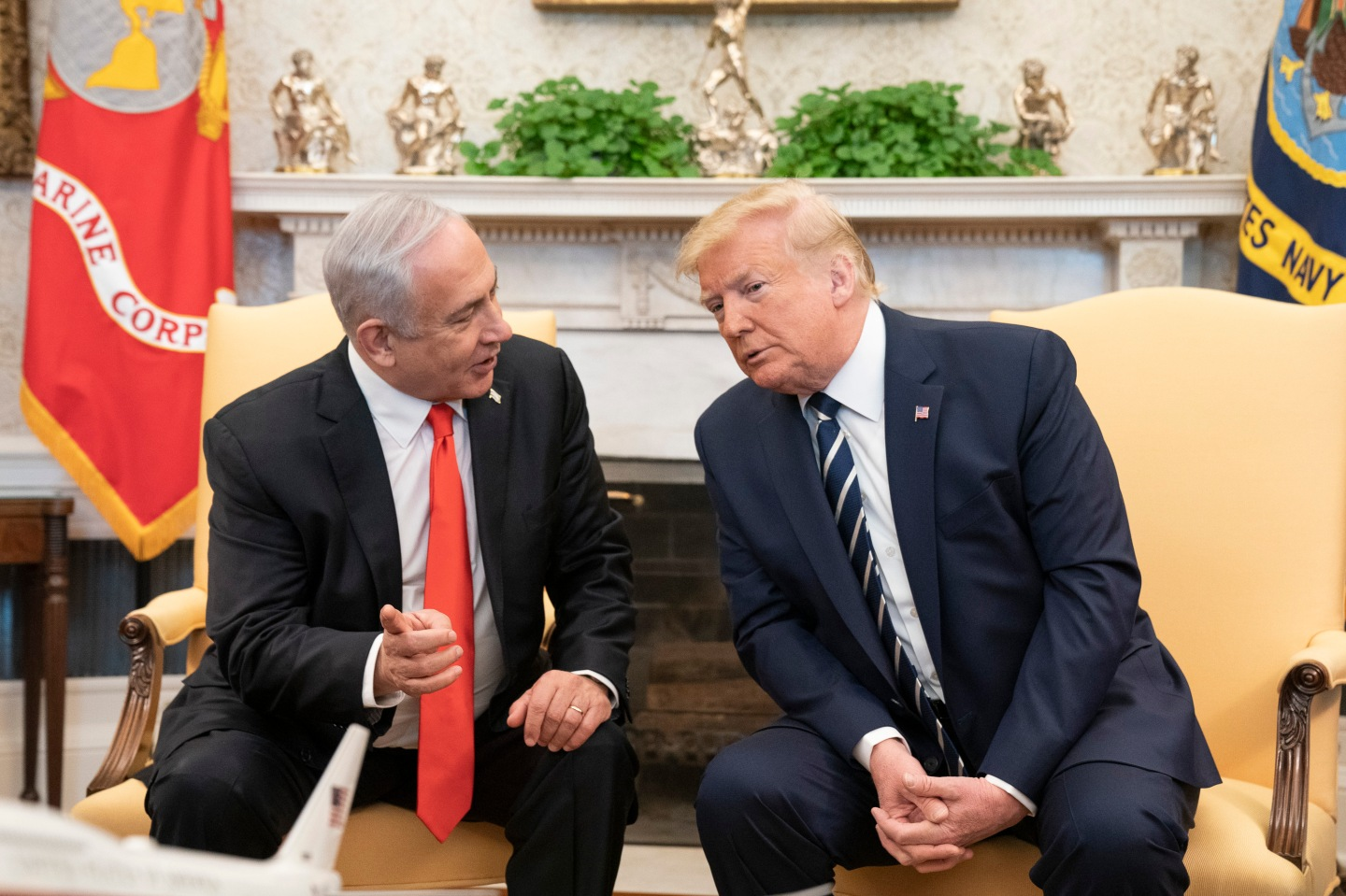President Donald J. Trump, joined by Vice President Mike Pence, participates in a bilateral meeting with Israeli Prime Minister Benjamin Netanyahu Monday, Jan. 27, 2020, in the Oval Office of the White House. (Official White House Photo by D.Myles Cullen)
