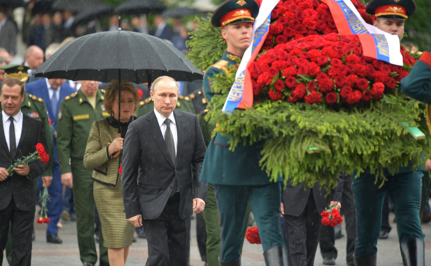 Putin at a wreath laying ceremony