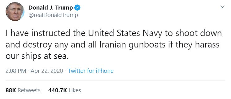 Trump tweet on Iran, 22 April 2020