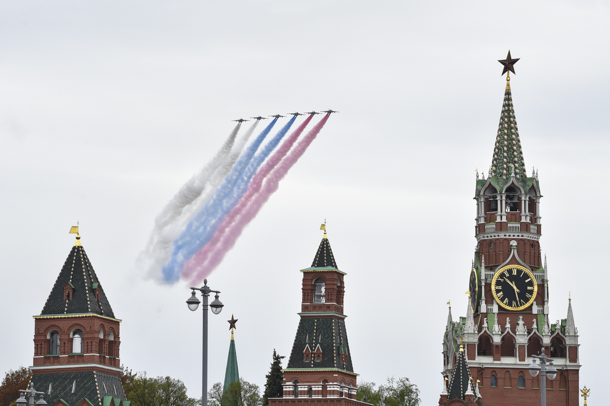Flight of aviation on the day of the 75th anniversary of the Victory in the Great Patriotic War in Moscow