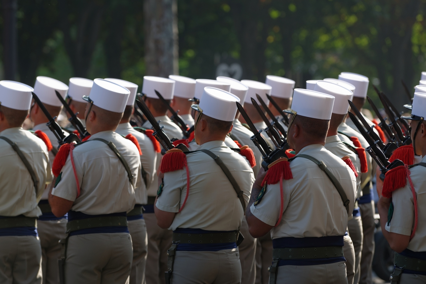 Men of the French Foreign Legion at the Bastille Day 2013 military parade on the Champs-Élysées in Paris.